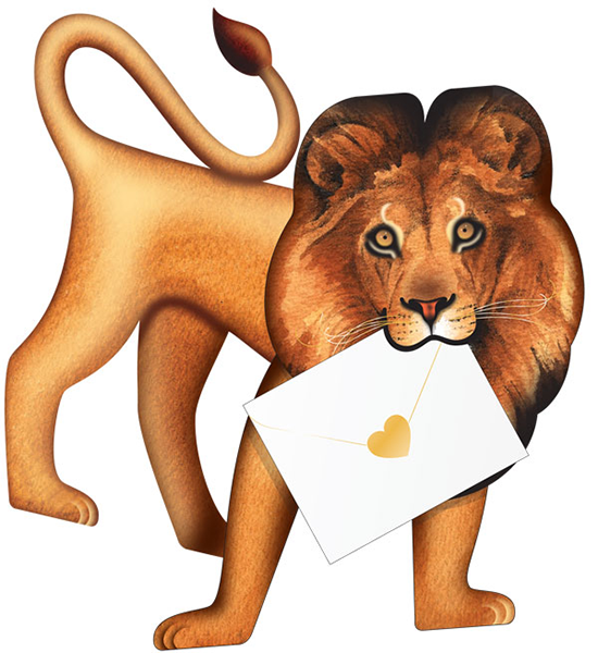 funky quirky unusual modern cool card cards greetings greeting original classic wacky contemporary art photographic fun vintage retro Leo 3D cut-out lion special-delivery