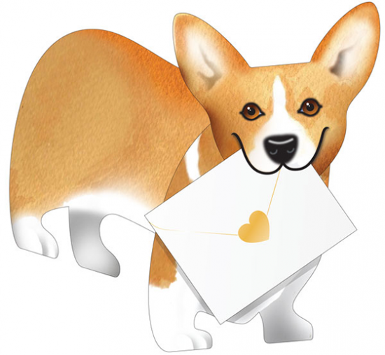 funky quirky unusual modern cool card cards greetings greeting original classic wacky contemporary art photographic fun vintage retro carriad 3D cut-out corgi dog special-delivery