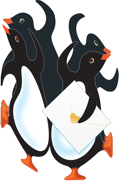 funky quirky unusual modern cool card cards greetings greeting original classic wacky contemporary art photographic fun vintage retro 3D penguin cut-out special-delivery