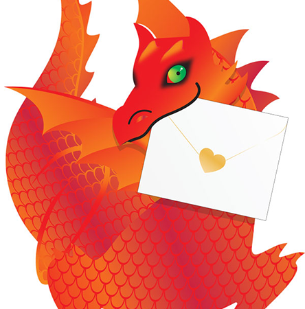 funky quirky unusual modern cool card cards greetings greeting original classic wacky contemporary art photographic fun vintage retro 3D cut-out dragon special-delivery flame