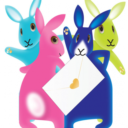 funky quirky unusual modern cool card cards greetings greeting original classic wacky contemporary art photographic fun vintage retro party-bunnies 3D cut-out bunnies rabbit special-delivery