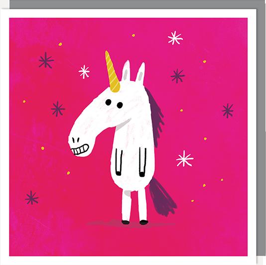 Birthday funky quirky unusual modern cool card cards greetings greeting original classic wacky contemporary art illustration fun vintage retro funny toasted unicorn starstruck funny cute U-Studio
