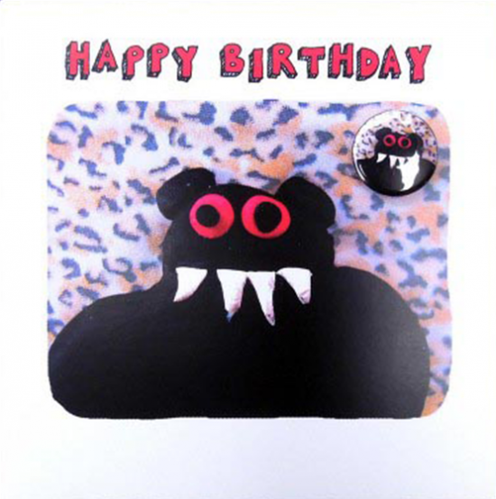 funky quirky unusual modern cool card cards greetings greeting original classic wacky contemporary art illustration fun Lucy-mason birthday monster badge funny Lucy Mason