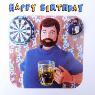 funky quirky unusual modern cool card cards greetings greeting original classic wacky contemporary art illustration fun Lucy-mason bloke man birthday badge darts beer action-man beard