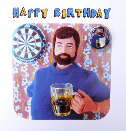 funky quirky unusual modern cool card cards greetings greeting original classic wacky contemporary art illustration fun Lucy-mason bloke man birthday badge darts beer action-man beard