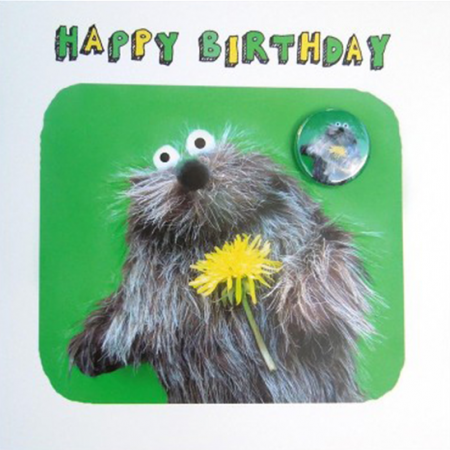 funky quirky unusual modern cool card cards greetings greeting original classic wacky contemporary art illustration fun Lucy-mason furry animal cute funny badge flower birthday
