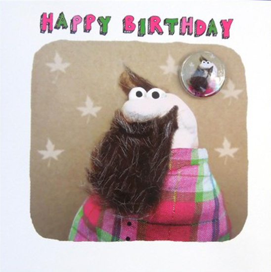 funky quirky unusual modern cool card cards greetings greeting original classic wacky contemporary art illustration fun Lucy-mason birthday hipster beard badge metrosexual