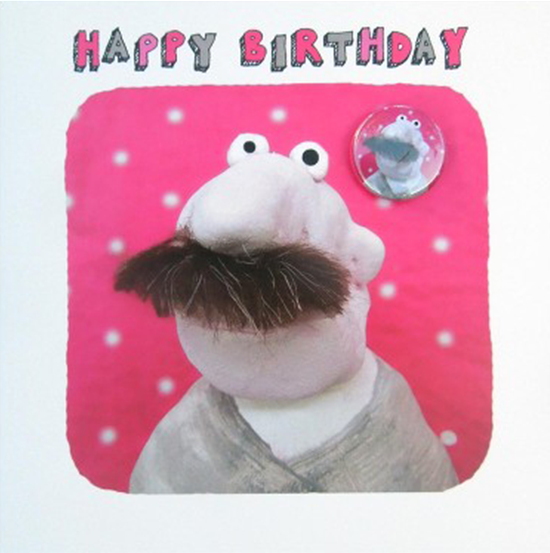 birthday moustache man badge funny cute Lucy-mason funky quirky unusual modern cool card cards greetings greeting original classic wacky contemporary art illustration fun