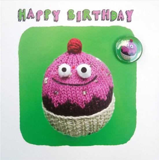Lucy-mason birthday bun cake badge funny funky quirky unusual modern cool card cards greetings greeting original classic wacky contemporary art illustration fun cute
