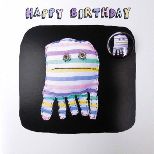 funky quirky unusual modern cool card cards greetings greeting original classic wacky contemporary art illustration fun Lucy-mason birthday badge stripy squid octopus Lucy Mason
