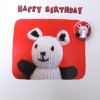 funky quirky unusual modern cool card cards greetings greeting original classic wacky contemporary art illustration fun Lucy-mason knitted bear badge birthday cute funny Lucy Mason
