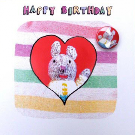 funky quirky unusual modern cool card cards greetings greeting original classic wacky contemporary art illustration fun Lucy-mason birthday badge mouse cute funny knitted Lucy Mason