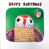 funky quirky unusual modern cool card cards greetings greeting original classic wacky contemporary art illustration fun Lucy-mason owl cute funny birthday knitted Lucy Mason badge
