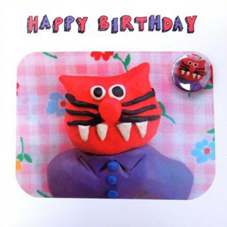 funky quirky unusual modern cool card cards greetings greeting original classic wacky contemporary art illustration fun Lucy-mason cat birthday badge funny Lucy Mason