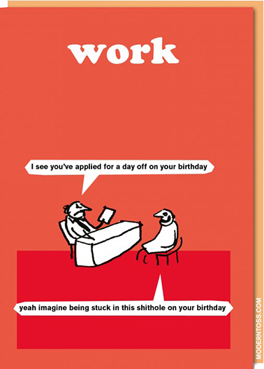 Birthday funky quirky unusual modern cool card cards greetings greeting original classic wacky contemporary art illustration fun vintage retro modern-toss birthday work funny rude swearing