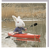 kayak bunny 1000 words rabbit head man canoe boat photographic U-Studio funky quirky unusual modern cool card cards greetings greeting original classic wacky contemporary art humorous