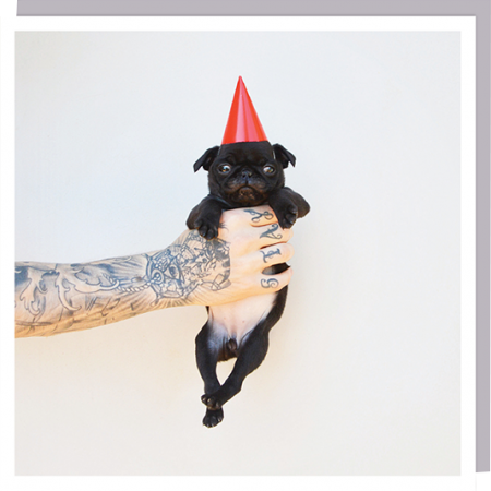 pug puppy dog party hat tattoo man cute photographic U-Studio funky quirky unusual modern cool card cards greetings greeting original classic wacky contemporary art humorous 1000-words