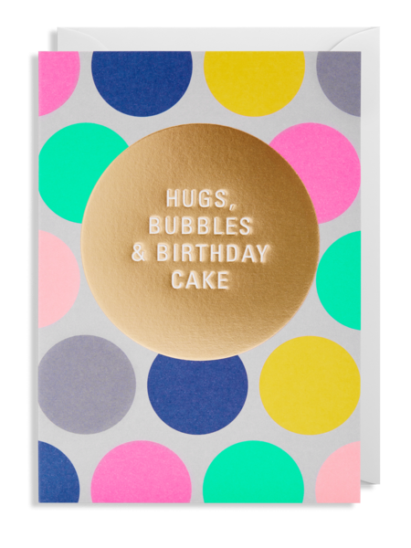 Lagom bubbles birthday cake hugs postco funky quirky unusual modern cool card cards greetings greeting original classic wacky contemporary art illustration fun