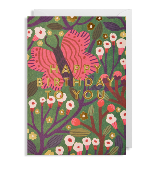 butterfly happy birthday Lagom Monika-forsberg funky quirky unusual modern cool card cards greetings greeting original classic wacky contemporary art illustration fun