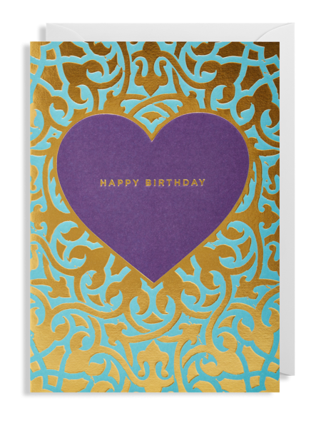 funky quirky unusual modern cool card cards greetings greeting original classic wacky contemporary art illustration fun lagoon bison purple gold heart happy birthday
