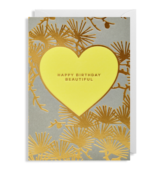 happy Birthday Beautiful heart Lagom bison funky quirky unusual modern cool card cards greetings greeting original classic wacky contemporary art illustration fun gold yellow