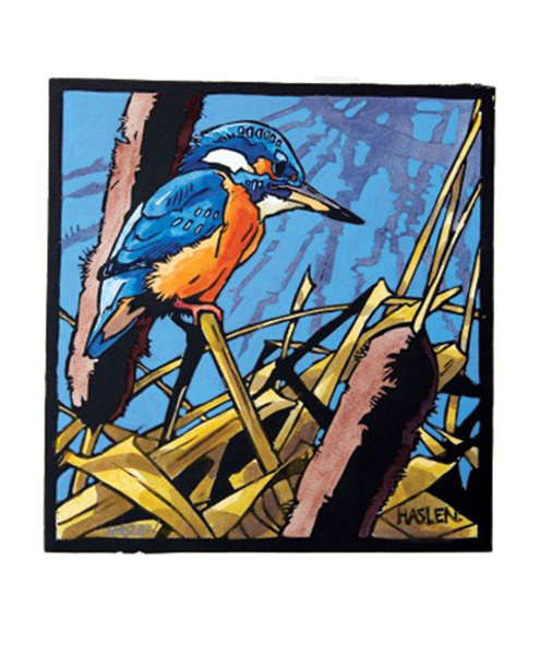 funky quirky unusual modern cool card cards greetings greeting original classic wacky contemporary art illustration fun vintage retro kingfisher bird linocut Art-Angels Andrew-haslen