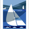 funky quirky unusual modern cool card cards greetings greeting original classic wacky contemporary art illustration fun vintage retro shadow racer boat Art-Angels Andrew-pavitt screenprint