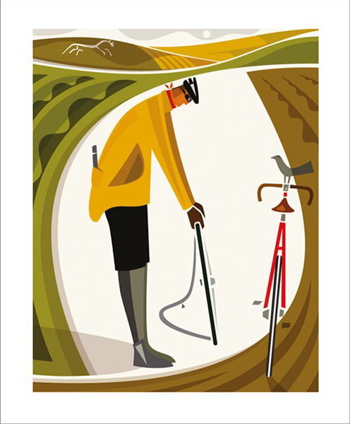 Andrew-pavitt Art-Angels fixer bicycle funky quirky unusual modern cool card cards greetings greeting original classic wacky contemporary art illustration fun vintage retro screenprint