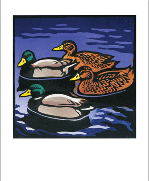 funky quirky unusual modern cool card cards greetings greeting original classic wacky contemporary art illustration fun vintage retro mallard duck Chris-Wormell Art-Angels linocut