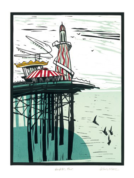 Brighton pier Colin-Moore Art-Angels linocut funky quirky unusual modern cool card cards greetings greeting original classic wacky contemporary art illustration fun vintage retro