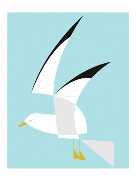 funky quirky unusual modern cool card cards greetings greeting original classic wacky contemporary art illustration fun vintage retro seagull screenprint Art-Angels Eleanor-Grosch