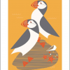 puffins screenprint Eleanor grosch Art-Angels funky quirky unusual modern cool card cards greetings greeting original classic wacky contemporary art illustration fun vintage retro