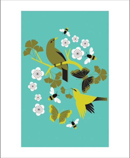 funky quirky unusual modern cool card cards greetings greeting original classic wacky contemporary art illustration fun vintage retro ginkgo buzz birds Art-Angels Eleanor-grosch