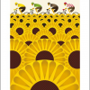 funky quirky unusual modern cool card cards greetings greeting original classic wacky contemporary art illustration fun vintage retro tournesols bicycles Eleanor-grosch Art-Angels sunflowers screenprint