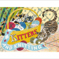 funky quirky unusual modern cool card cards greetings greeting original classic wacky contemporary art illustration fun vintage retro kittens knitting Art-Angels Emily-sutton screenprint