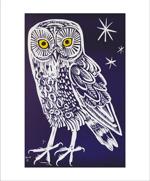 funky quirky unusual modern cool card cards greetings greeting original classic wacky contemporary art illustration fun vintage retro owl linocut mark-hearld Art-Angels