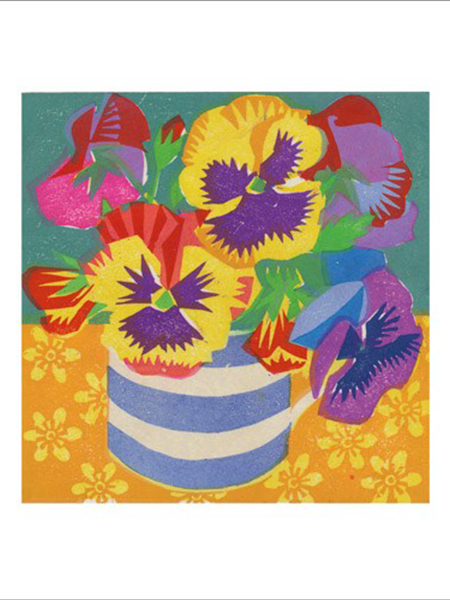 funky quirky unusual modern cool card cards greetings greeting original classic wacky contemporary art illustration fun vintage retro Matt-Underwood Art-Angels woodblock pansies flowers
