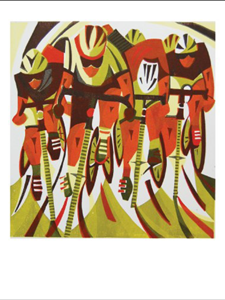funky quirky unusual modern cool card cards greetings greeting original classic wacky contemporary art illustration fun vintage retro bicycles race Art-Angels Paul-cleden linocut