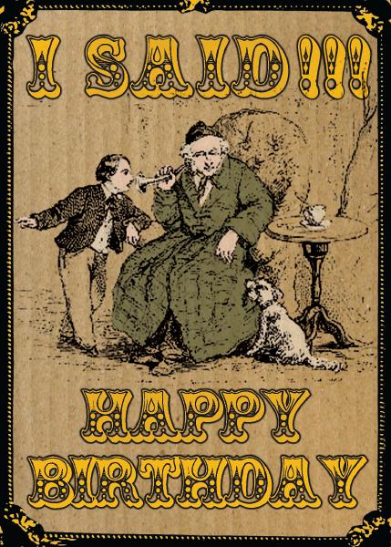 Birthday funky quirky unusual modern cool card cards greetings greeting original classic wacky contemporary art illustration fun vintage retro malarkey Brighton ear trumpet shouting birthday Malarkey-Cards