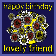 flowers Birthday funky quirky unusual modern cool card cards greetings greeting original classic wacky contemporary art illustration fun vintage retro malarkey Brighton lovely friend Malarkey-Cards