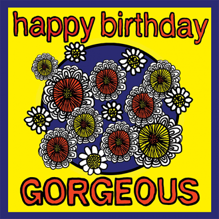 Birthday funky quirky unusual modern cool card cards greetings greeting original classic wacky contemporary art illustration fun vintage retro malarkey Brighton happy gorgeous malarkey-cards flowers