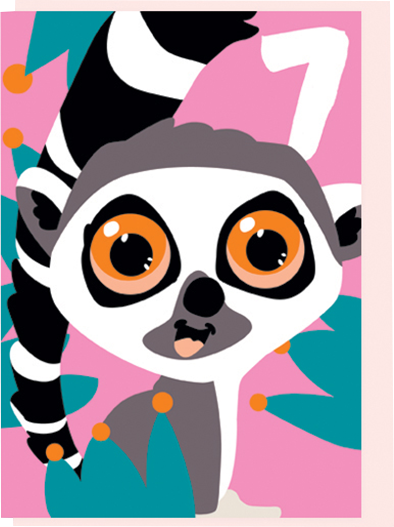 Birthday funky quirky unusual modern cool card cards greetings greeting original classic wacky contemporary art illustration fun vintage retro seventh 7th noi lemur age 7 seven kids birthday cute