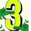Birthday funky quirky unusual modern cool card cards greetings greeting original classic wacky contemporary art illustration fun vintage retro third 3rd noi age 3 three crocodile kids birthday