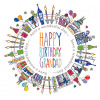 funky quirky unusual modern cool card cards greetings greeting original classic wacky contemporary art illustration fun happy birthday grandad colourful Two-Little-Monkeys