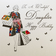daughter happy birthday shopping wonderful five-dollar-shake liberty-print hand-finished crystals funky quirky unusual modern cool card cards greetings greeting original classic wacky contemporary art illustration fun vintage retro