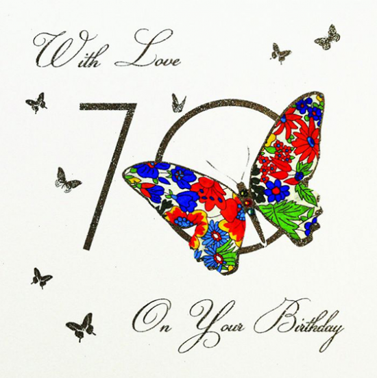 funky quirky unusual modern cool card cards greetings greeting original classic wacky contemporary art illustration fun vintage retro 70 70th seventieth seventy birthday butterfly five-dollar-shake liberty-print