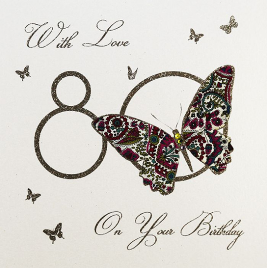 funky quirky unusual modern cool card cards greetings greeting original classic wacky contemporary art illustration fun vintage retro 80 80th eightieth eighty birthday butterfly five-dollar-shake liberty-print
