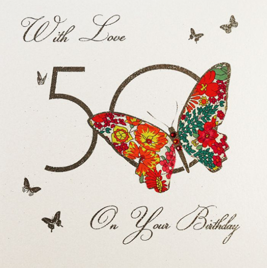 funky quirky unusual modern cool card cards greetings greeting original classic wacky contemporary art illustration fun vintage retro 50 50th fifty fiftieth birthday butterfly five-dollar-shake liberty-print hand-finished handmade