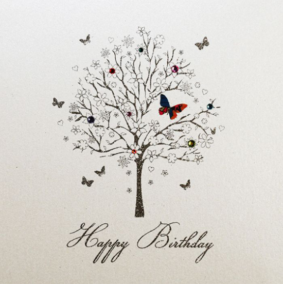 birthday tree five-dollar-shake liberty-print hand-finished funky quirky unusual modern cool card cards greetings greeting original classic wacky contemporary art illustration fun vintage retro