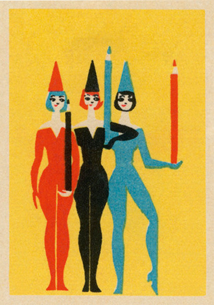 funky quirky unusual modern cool card cards greetings greeting original classic wacky contemporary art illustration fun vintage retro performers pencils art-press matchbox vintage jane mcdevitt